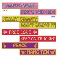 Feeling Groovy & 60's 60s Street Signs Cutouts 10cm x 61cm Pack of 4