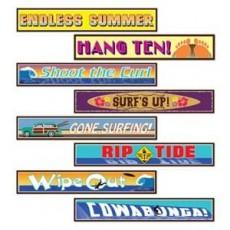 Hawaiian Luau Surfer Street Signs Cutouts