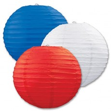 USA Red, White & Blue Paper Lanterns