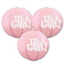 Baby Shower - General Pink Paper Lanterns
