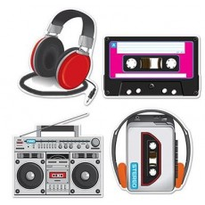 Totally 80's Cassette Player & Headphones Cutouts 30cm to 35cm Pack of 4