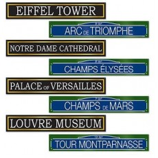 Party in Paris French Street Signs Cutouts 10cm x 61cm Pack of 4