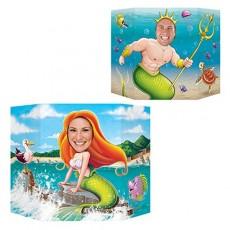 Happy Birthday Mermaid & King Neptune Photo Prop 94cm x 64cm