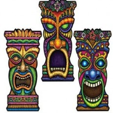 Hawaiian Assorted Colours Tiki Cutout