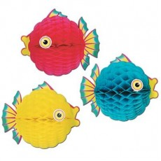 Hawaiian Luau Bubble Fish Honeycomb Hanging Decoration