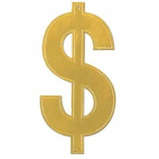 Dollar Sign Gold Foil Cutout