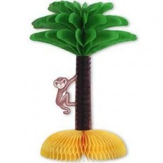 Hawaiian Luau Palm Tree & Monkey Honeycomb Centrepiece