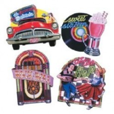 Rock n Roll 50's Jukebox, Car, Dancing & Record Cutouts 35cm to 42cm Pack of 4