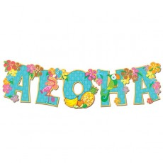 Hawaiian Luau Aloha Jointed Streamer Banner