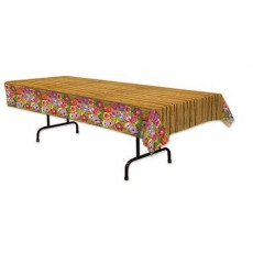 Hawaiian Luau Flowers & Bamboo Plastic Table Cover