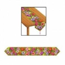 Hawaiian Luau Flowers & Bamboo Table Runner