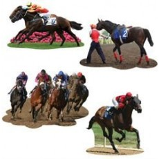 Horse Racing Assorted Designs Cutouts Pack of 4