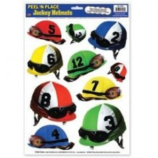 Horse Racing Jockey Helmets Peel N Place Sticker