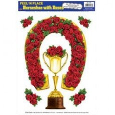 Horse Racing Horseshoe, Trophy Cup & Roses Peel N Place Misc Decorations