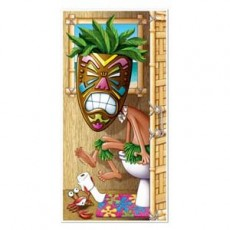 Hawaiian Luau Tiki Man Restroom Toilet Door Decoration