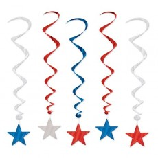 USA Red, Silver & Blue Star Swirls Hanging Decorations