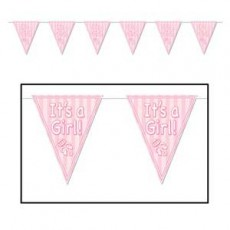 Baby Shower - General Pink Rattle Pennant Banner