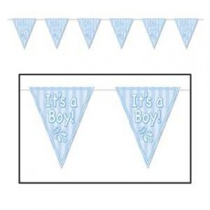 Baby Shower - General Blue Rattle Pennant Banner
