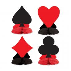Casino Party Decorations Card Suits Mini Honeycomb Centrepieces