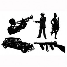 Great 1920's Gangster Black Silhouettes Cutouts