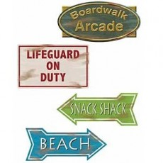 Hawaiian Luau Beach Signs Cutouts