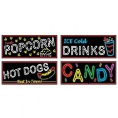 Rock n Roll 50's Neon Food Signs Cutouts