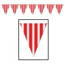 Dots & Stripes Red & White Flag Plastic Pennant Banner