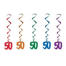 Multi Coloured 50th Birthday Whirls Hanging Decorations Pack of 5