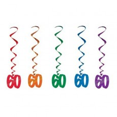 Multi Coloured 60th Birthday Whirls Hanging Decorations 91cm Pack of 5