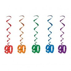 Multi Coloured 90th Birthday Whirls Hanging Decorations 91cm Pack of 5