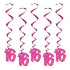 16th Birthday Pink Whirls Hanging Decorations