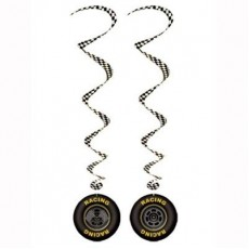 Black Racing Car Tyres Whirls Hanging Decorations