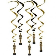 Hollywood Awards Night Statues Whirls Hanging Decorations