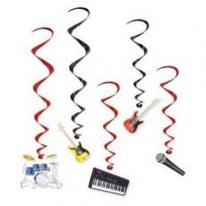 Rock n Roll Band Instrument Swirls Hanging Decorations 83cm & 99cm Pack of 5