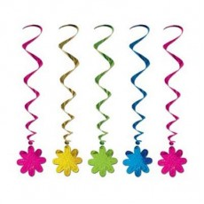 Multi Coloured Flower Whirl Hanging Decorations 91cm Pack of 5