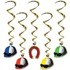 Horse Racing Jockey Hats Derby Day Whirls Hanging Decorations 94cm Pack of 5
