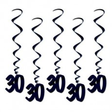 Black 30th Birthday Whirl Hanging Decorations 91cm Pack of 5