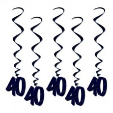 40th Birthday Black Whirls Hanging Decorations