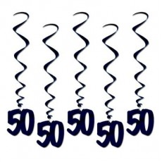Black 50th Birthday Whirls Hanging Decorations Pack of 5