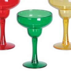 Multi Colour ed Margarita Shot Glass Plastic Glasses