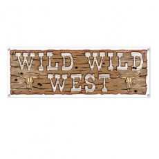Cowboy & Western Sign Wild Wild West Banner 53cm x 152cm