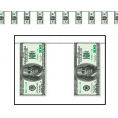 USA One Hundred Dollar Bill Plastic Pennant Banner 25cm x 3.66m