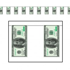 USA One Hundred Dollar Bill Plastic Pennant Banner