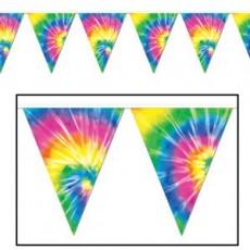 Feeling Groovy & 60's Tie-Dyed Flag Plastic Pennant Banner 27cm x 3.66m