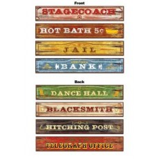 Cowboy & Western Double Sided Sign Cutouts 10cm x 61cm Pack of 4