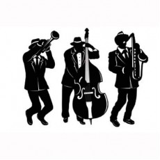 Black & White Great 1920's Jazz Band Trio Silhouettes Cutouts 45cm Pack of 3