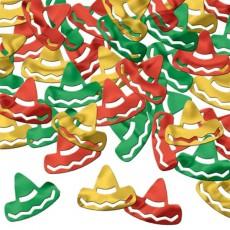 Mexican Fiesta Red, Green & Gold Sombrero Confetti