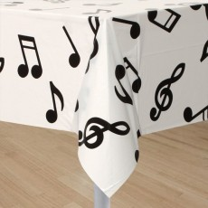 Disco & 70's Musical Notes Plastic Table Cover 137cm x 274cm