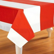 Stripes Red & White  Plastic Table Cover