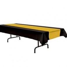 Black & Gold Stripes Plastic Table Cover 137cm x 274cm